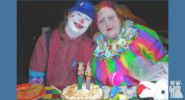 funny clown wedding photo