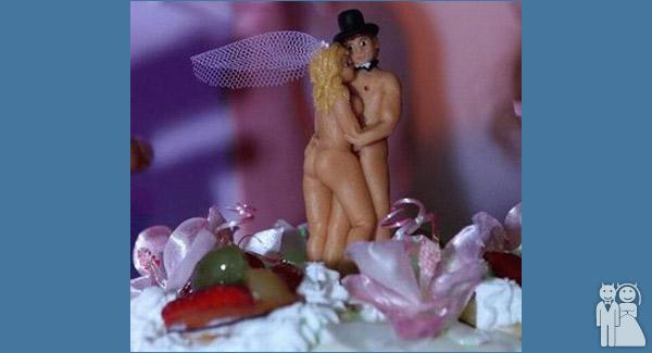funny wedding cake topped photo